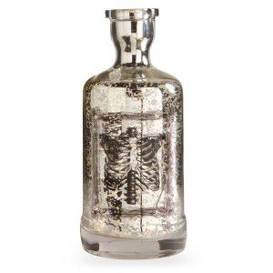 """10"""" Mercury Glass Skeleton Print Bottle"""