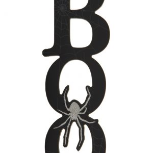 "12"" Black Boo Cutout Wall Plaque"