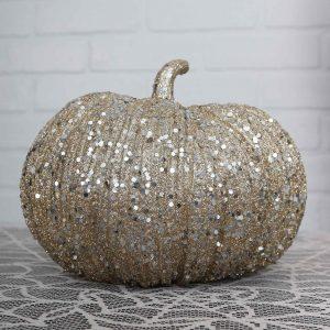 7 Inch Champagne Glitter Pumpkin