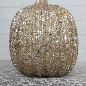 7 Inch Skinny Champagne Glitter Pumpkin