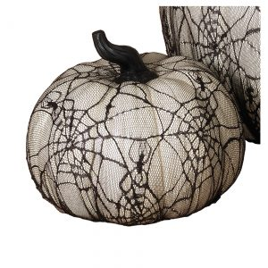 7.7 Inch White Resin Pumpkin with Spider Web Lace Covering
