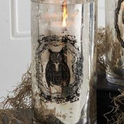 "7.75"" Mercury Glass Owl Print Vase"