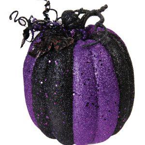 "9"" Purple And Black Striped Glitter Pumpkin"