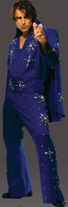 Adult 50's Starburst Jumpsuit Costume - Blue