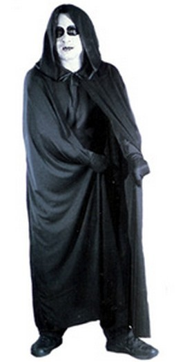 "Adult 68"" Black Hooded Cape"