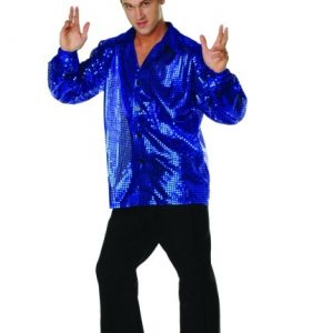Adult 70s Sequined Shirt - Blue