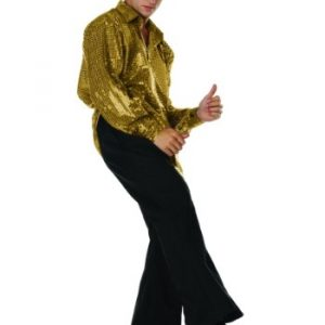 Adult 70s Sequined Shirt - Gold
