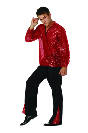 Adult 70s Sequined Shirt - Red