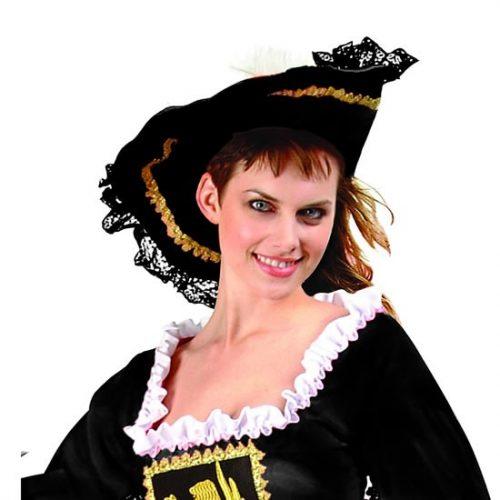 Adult Black Velvet Pirate Hat