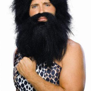 Adult Caveman Wig and Beard - Black