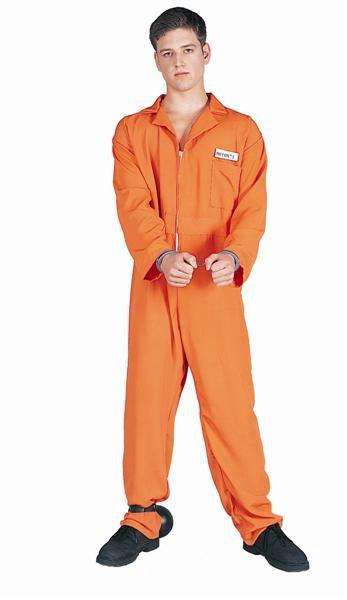 Adult Escaped Convict Costume - Orange Overall