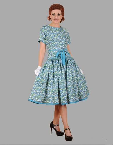 Adult Floral Dress Costume ? Blue