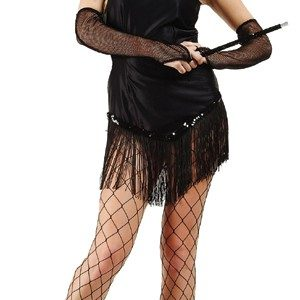 Adult Fringed Satin Sexy Flapper Costume - Black
