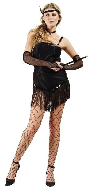 Adult Fringed Satin Sexy Flapper Costume - Black