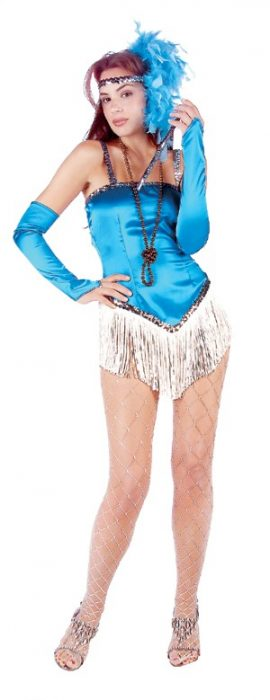 Adult Fringed Satin Sexy Flapper Costume - Blue