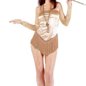 Adult Fringed Satin Sexy Flapper Costume - Gold