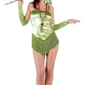 Adult Fringed Satin Sexy Flapper Costume - Green