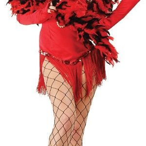 Adult Fringed Satin Sexy Flapper Costume - Red