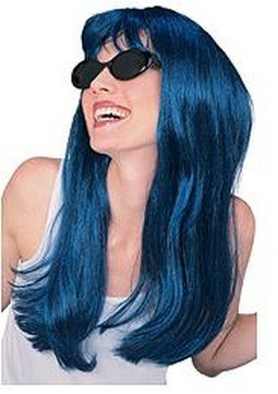Adult Glamour Long Teal Blue Wig