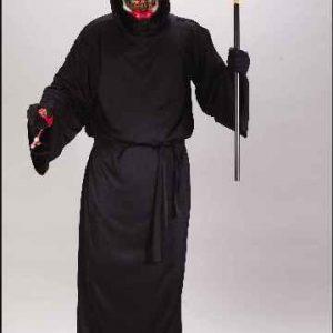 Adult Glowing Skull Bleeding Face Costume