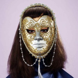Adult Gold and Beads Venetian Mask