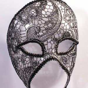 Adult Lacy Silver Half Mask