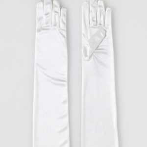 Adult Long Ivory Satin Gloves