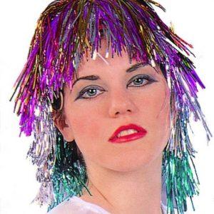 Adult Rainbow Tinsel Wig