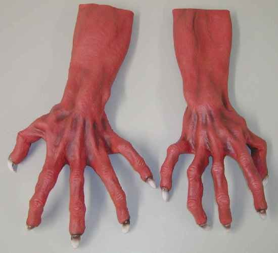 Adult Red Monster Costume Gloves