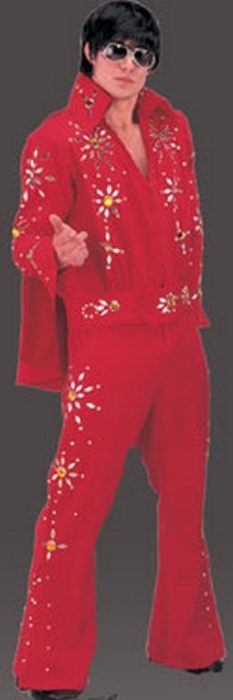 Adult Rock King Jumpsuit Costume - Red