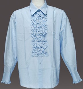 Adult Ruffled Tuxedo Shirt - Light Blue