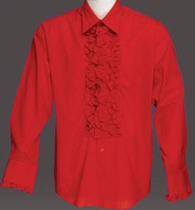 Adult Ruffled Tuxedo Shirt - Scarlet