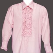 Adult Ruffled Tuxedo Shirt - Soft Pink