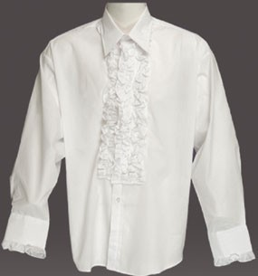 Adult Ruffled Tuxedo Shirt - White
