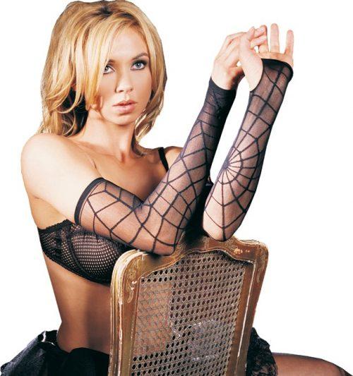 Adult Spider Web Costume Gloves - Black