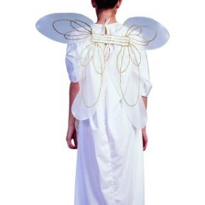 Adult White and Gold Angel Wings