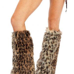 Animal Print Furry Leg Warmers