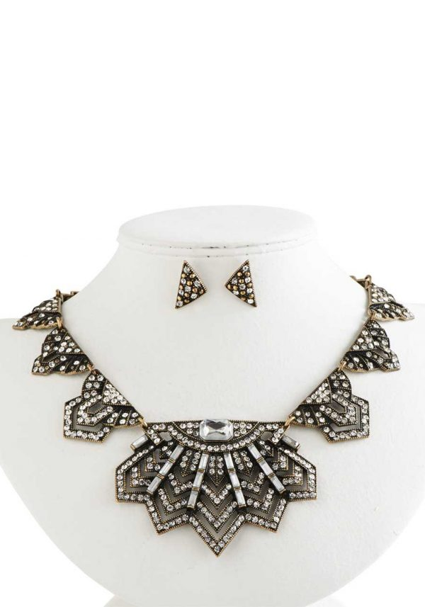 Antique Gold & Crystal Vintage-Style Statement Set