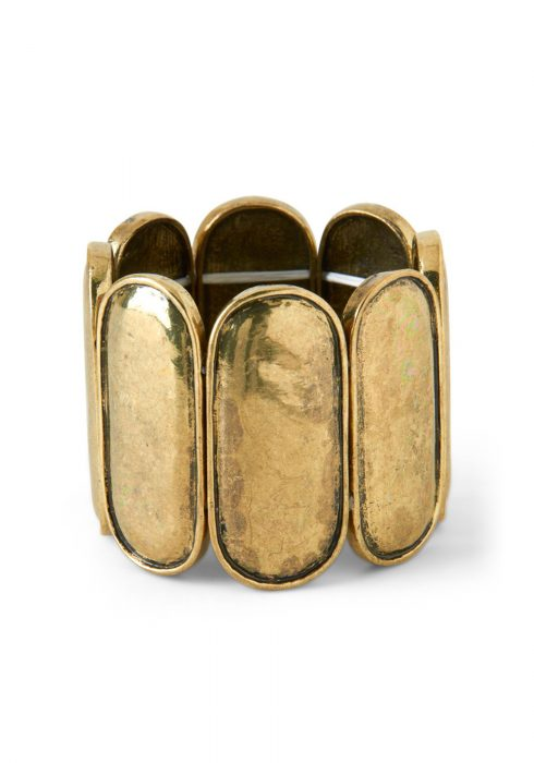 Antique Gold-Tone Ladyfinger Stretch Cuff Bracelet
