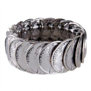 Antique Silver Stretch Coin Bracelet