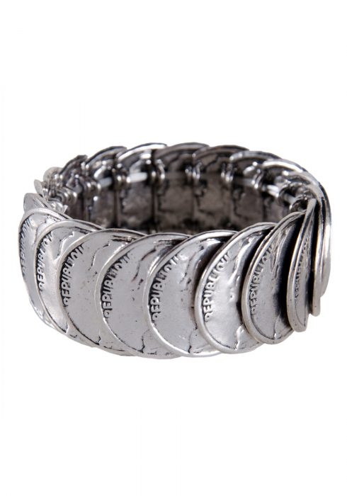 Antique Silver Stretch Coin Bracelet
