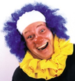 Bald Blue Curly Clown Wig