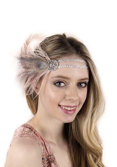 Beige Flapper Headband with Rhinestones