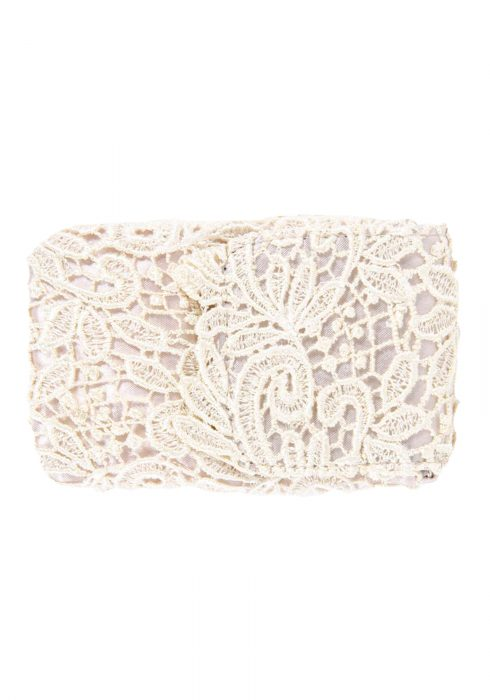 Beige Lace Cell Phone Bag with Chain