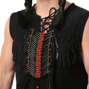 Black Beaded Native American Breastplate with Feathers