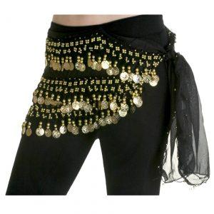 Black Belly Dancing Hip Scarf