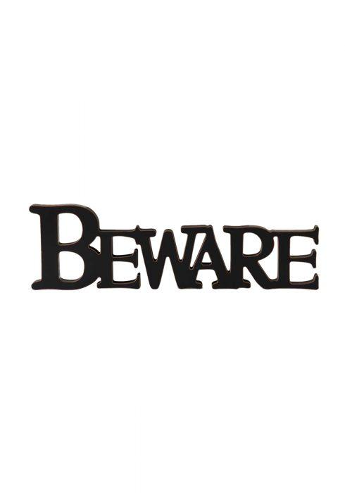 Black Beware Cutout Sign