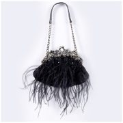 Black Feather Bag with Chain