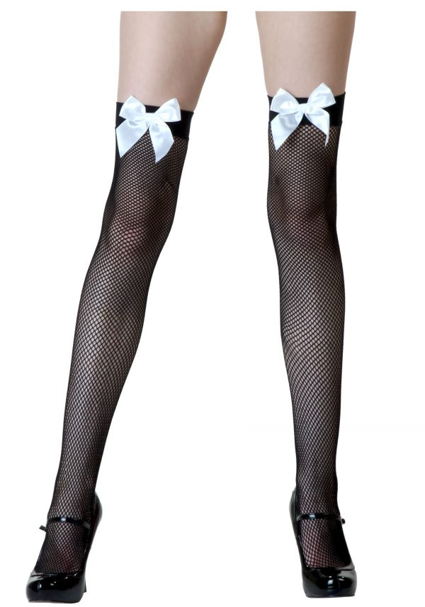 Black Fishnet / White Bow Thigh Highs