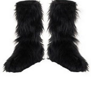 Black Furry Boot Covers